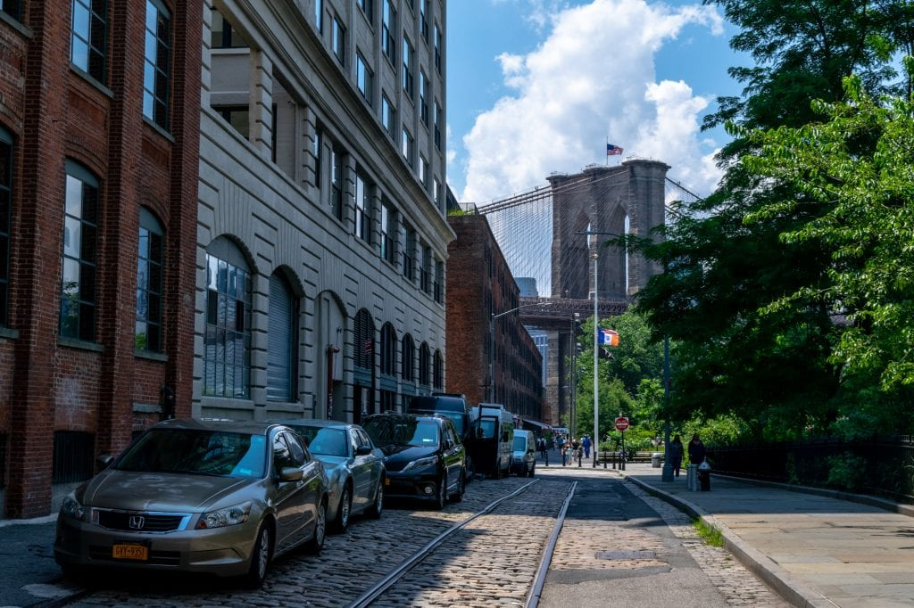 4 Days in New York Itinerary: Shot of Dumbo with Brooklyn Bridge in Background