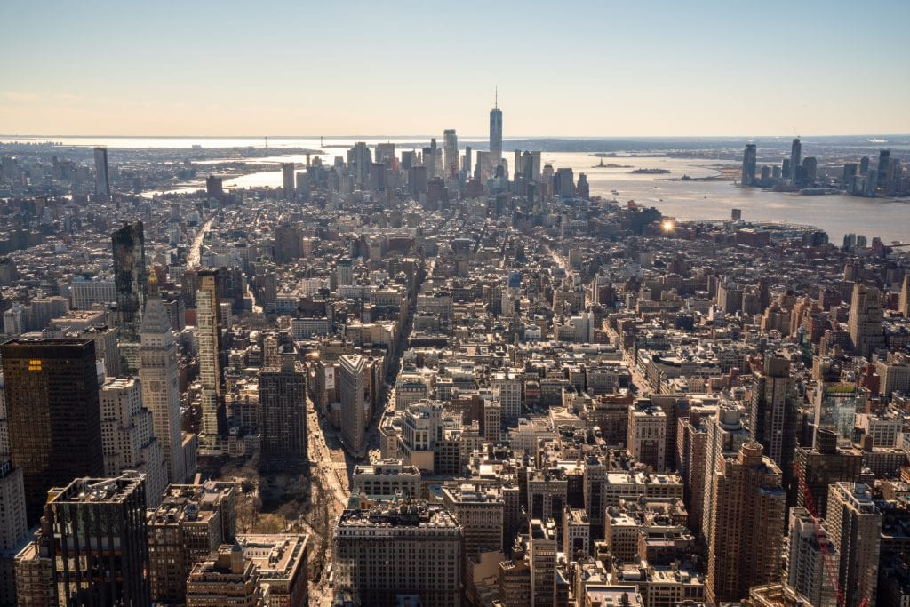 Empire State Building or Top of the Rock: view of Lower Manhattan from Empire State Building