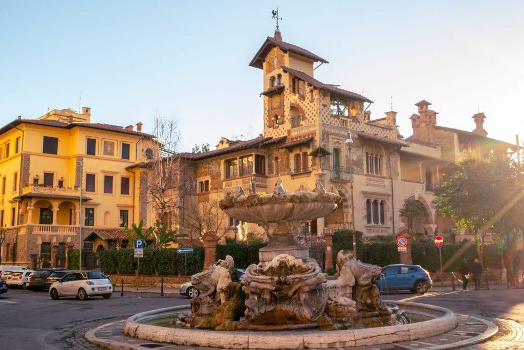 Quartiere Coppedè view of Piazza Mincio in Rome.