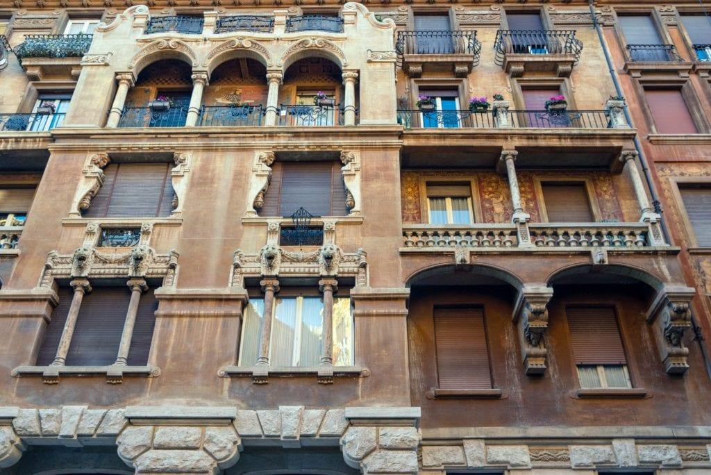 Quartiere Coppedè Details of Building in Rome