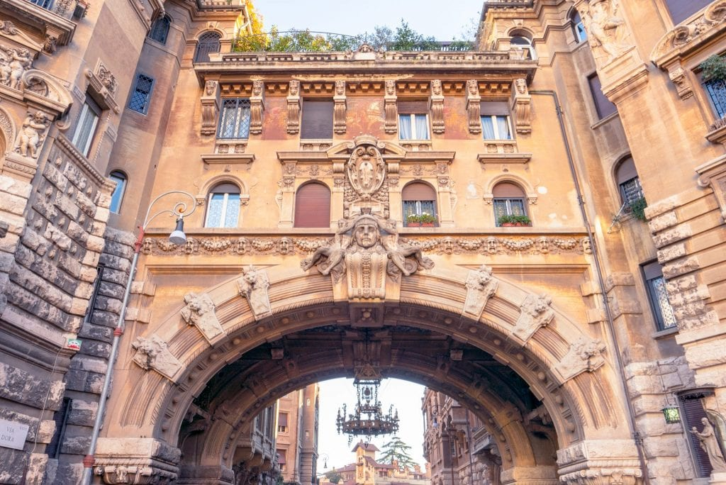 Close-up photo of Quartiere Coppedè entrance gate in Rome.
