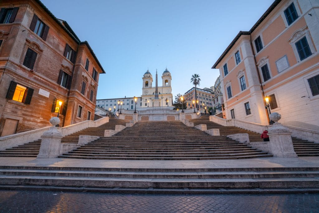 Empty Spanish Steps at Dawn in February: Rome in Winter Tips