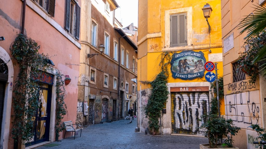 Street in Trastevere with Graffiti on the wall