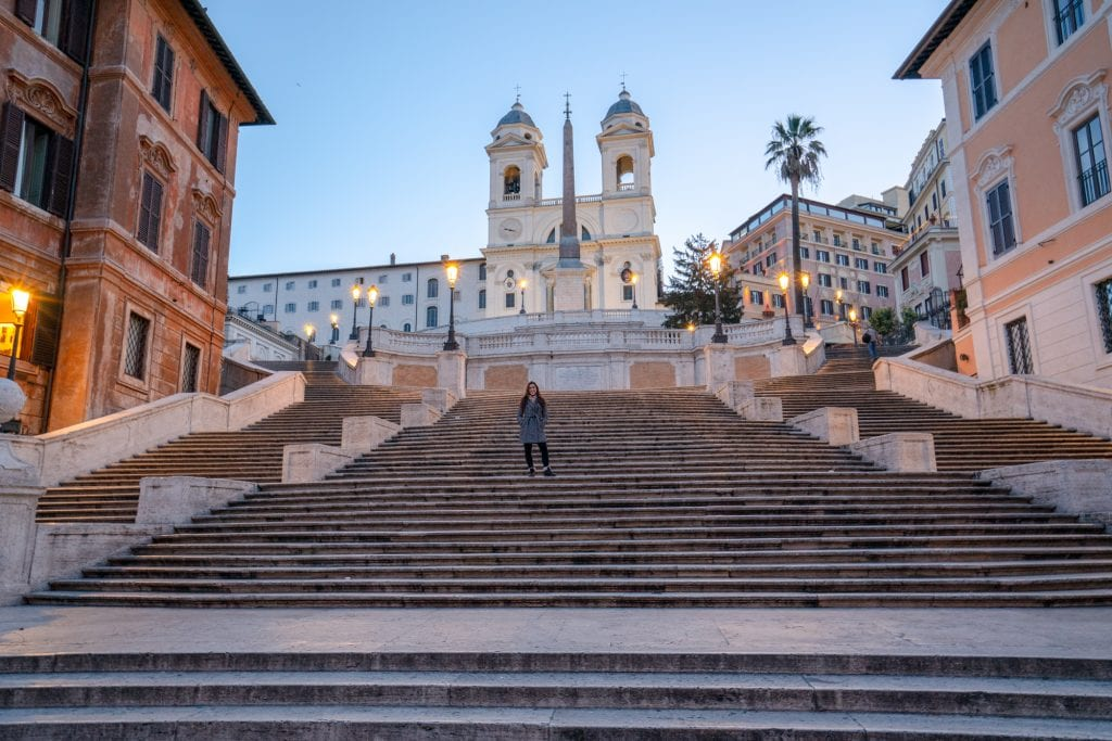 2 Day Rome Itinerary: Girl on the Spanish Steps at Dawn