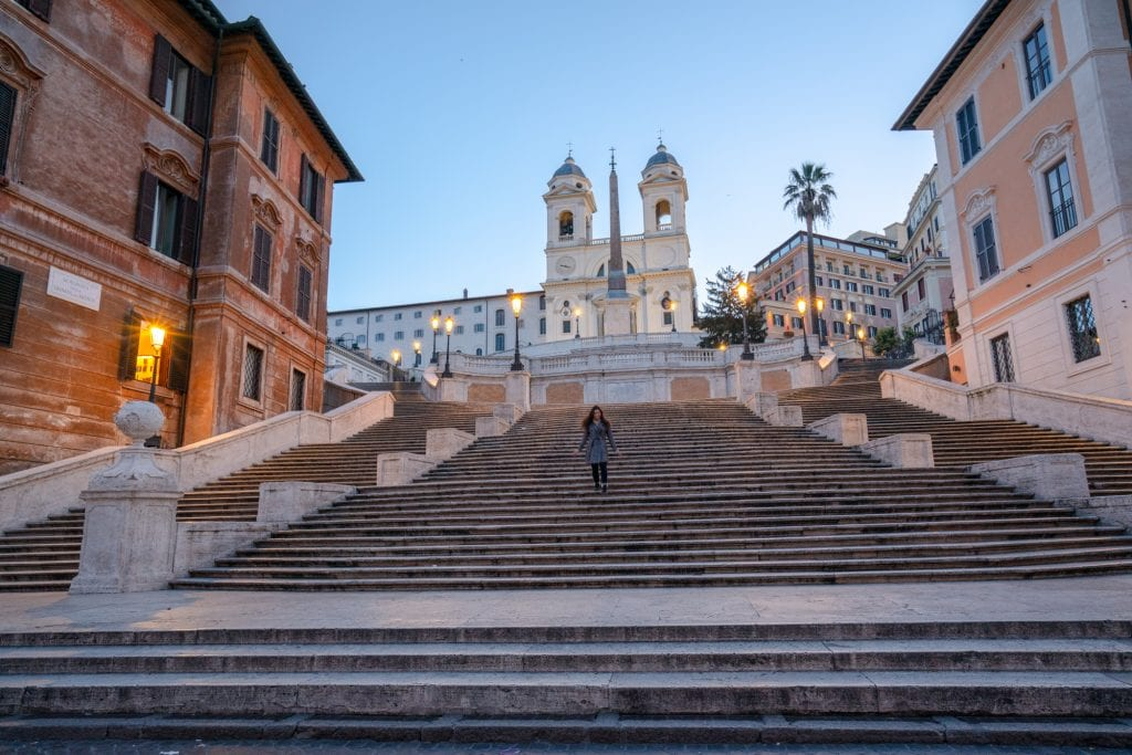 4 Days in Rome Itinerary: Steps of Piazza di Spagna with Girl at Dawn