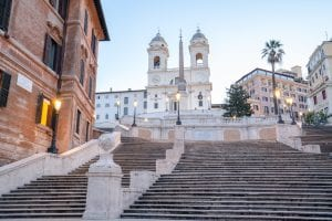 Empty close up of the Spanish Steps in Rome, Rome in a Day