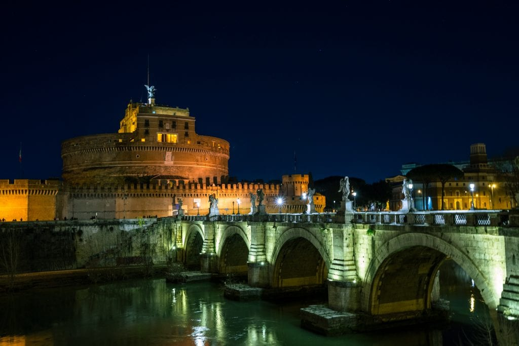 Castel Sant'Angelo at an angle with bridge, What to Do in Rome at Night