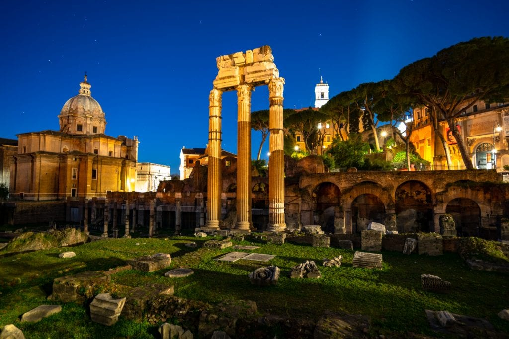 Roman Forum at Blue Hour with freestanding columns: What to Do in Rome at Night