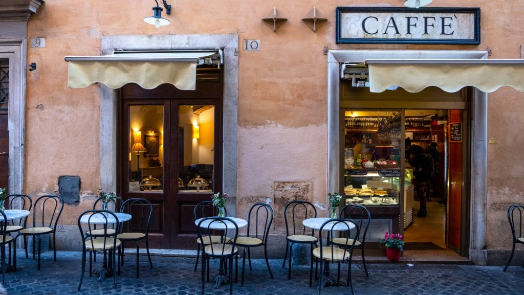 Cafe with Chairs outside in February, Rome in Winter, Instagrammable Places in Rome
