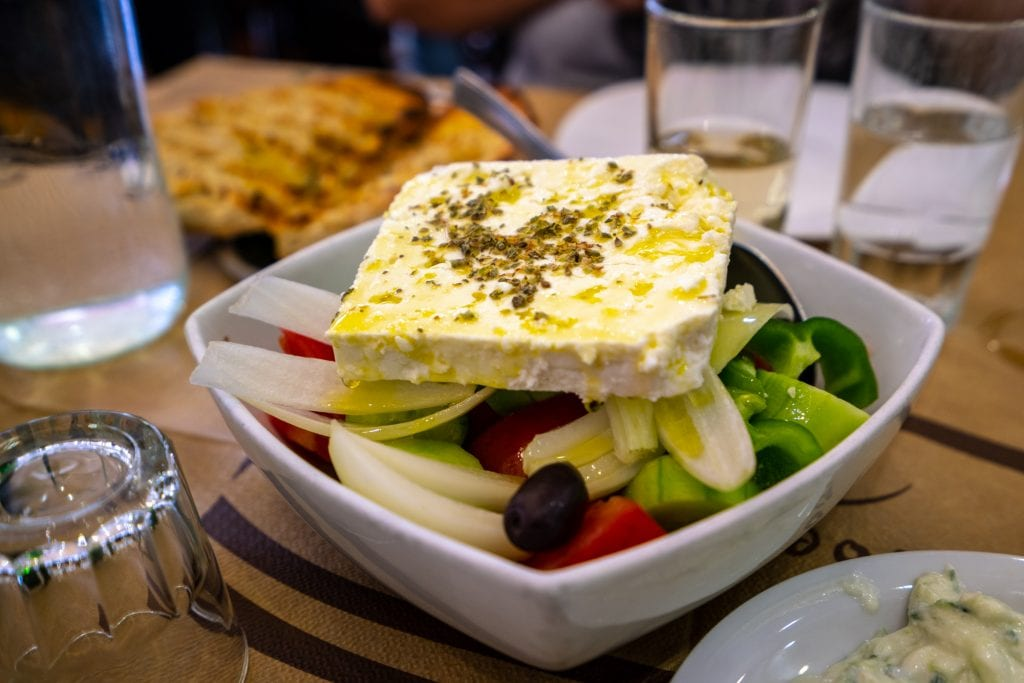 Close up of Greek salad, 2 days in Athens itinerary