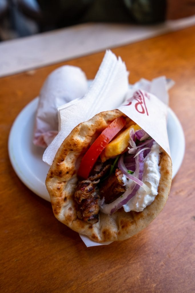 Close up of a pork gyro, Athens food tour