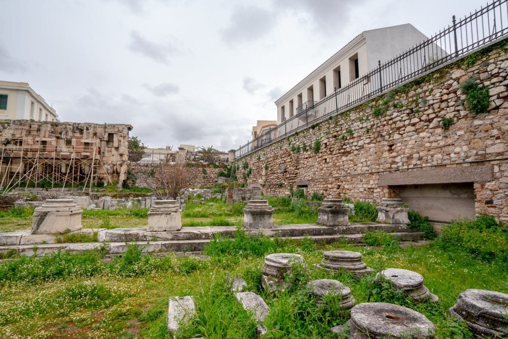 Ruins of Hadrian's Library, 2 days in Athens itinerary