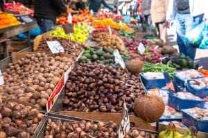Stalls at Athens fruit market, seen on Athens food tour, 2 days in Athens itinerary