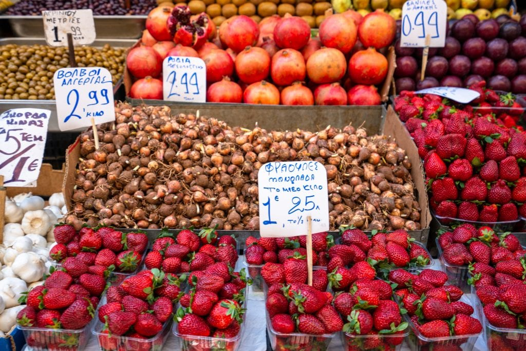 Strawberries and other fruit being sold at food market, Athens food tour