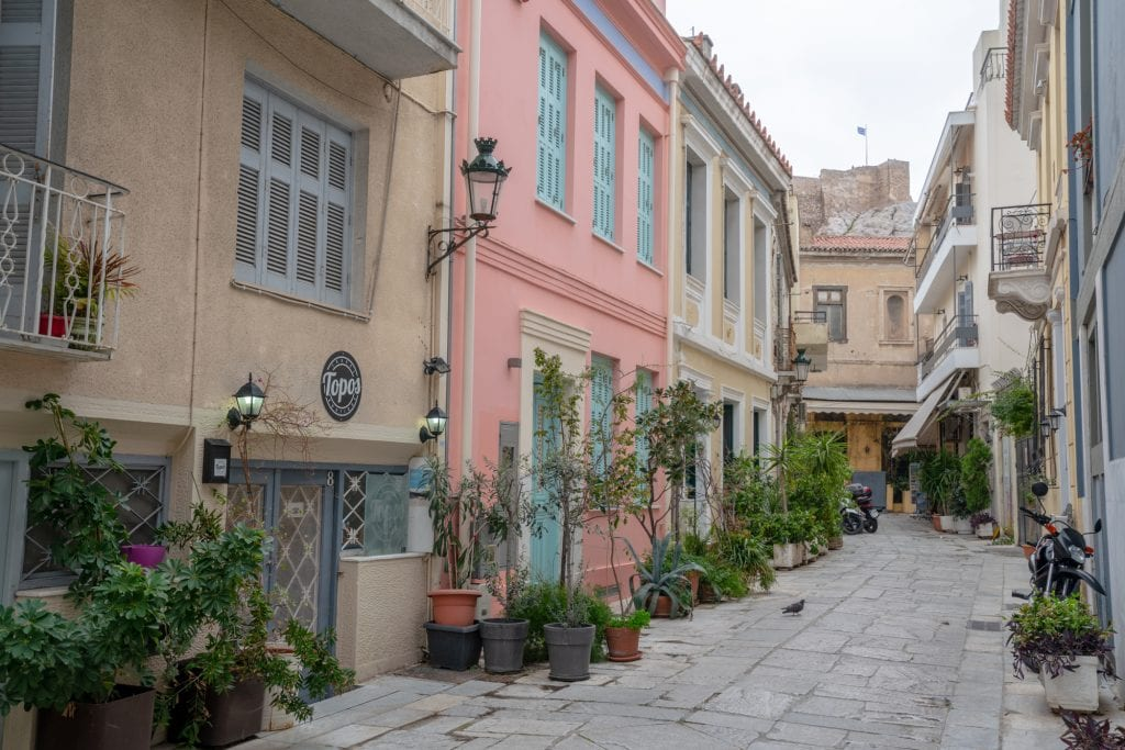 Pink building in Plaka neighborhood, Athens in 2 days itinerary