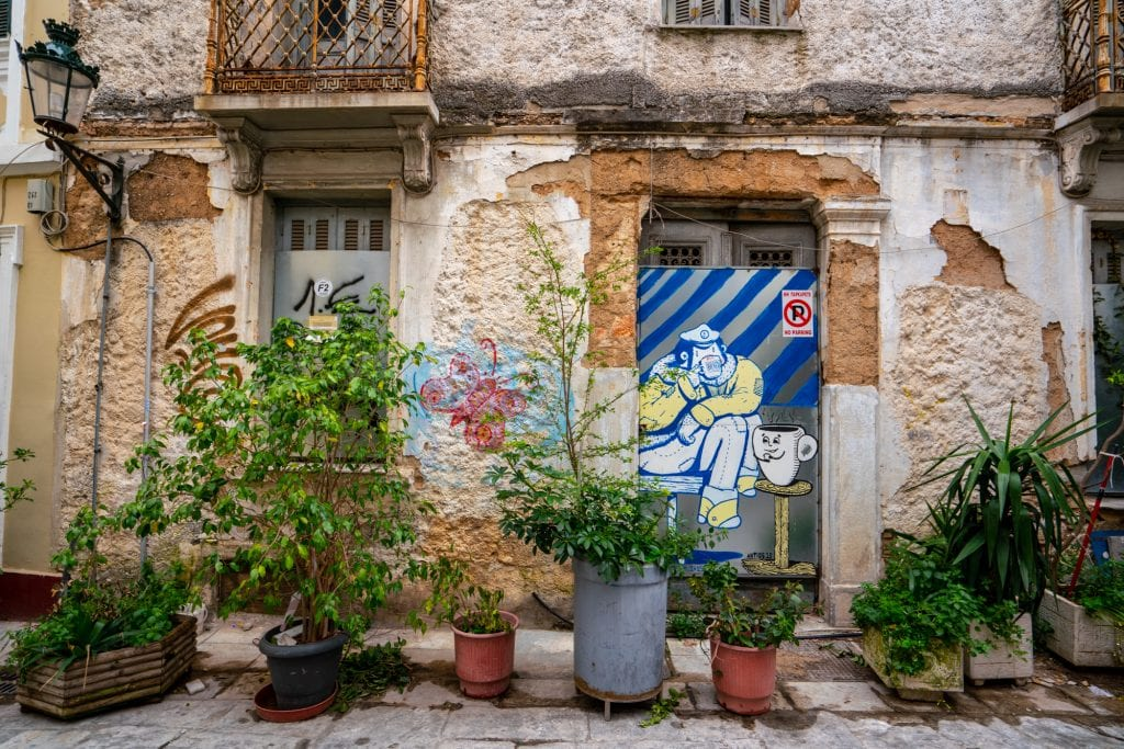 Street art of a blue monkey in Athens, two days in Athens itinerary