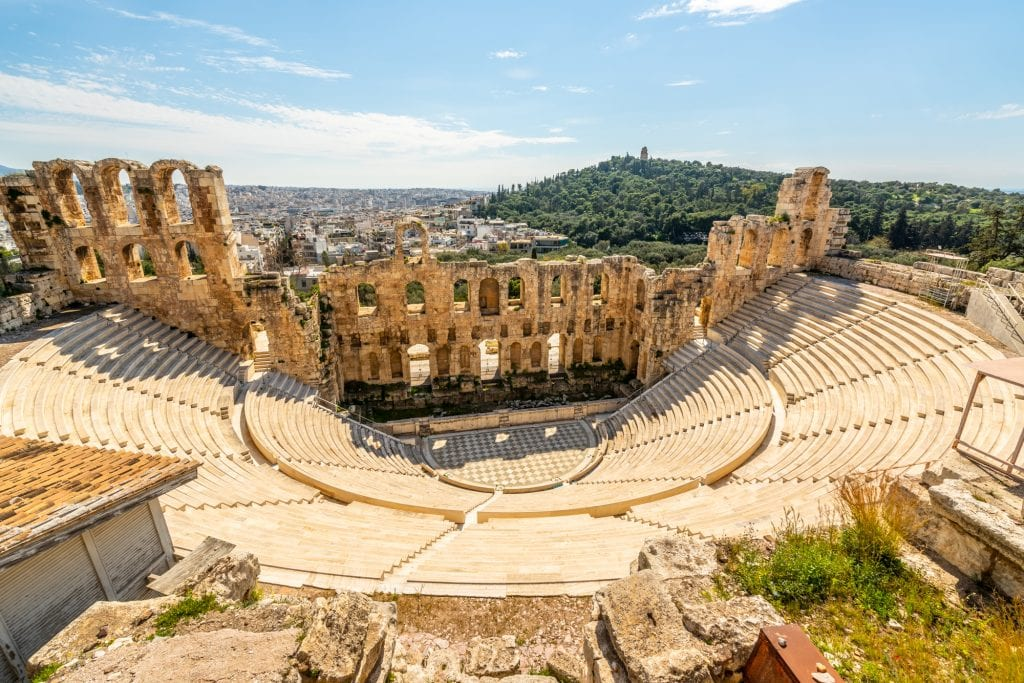 View of Odeon of Herodes Atticus looking down, 2 days in Athens itinerary
