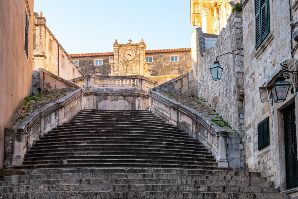 Fun Things to Do in Dubrovnik Croatia: Empty Jesuit Staircase
