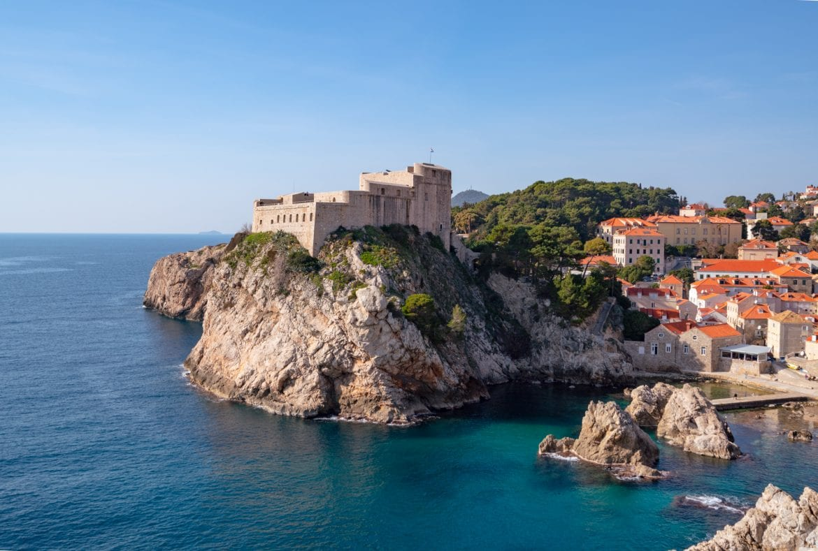 Fun Things to Do in Dubrovnik Croatia: View of Fort Lovrijenac viewed from city walls