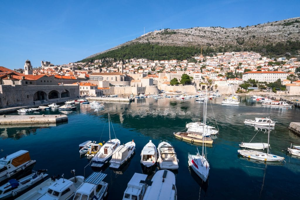 Fun Things to Do in Dubrovnik Croatia: Boats in Harbor from above