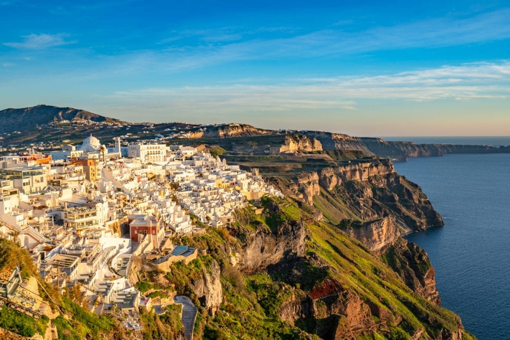 View of Fira village at golden hour, 3 days in Santorini itinerary