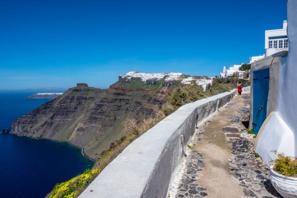 Path hiking from Fira to Oia, Santorini Honeymoon