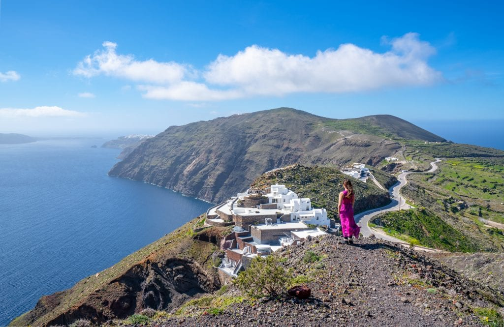 Caldera views while hiking from Fira to Oia, 3 days in Santorini itinerary