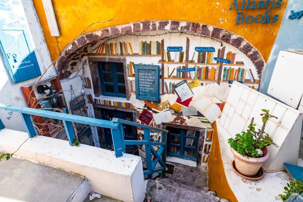 Exterior of Atlantis Books in Oia, 3 Days in Santorini itinerary