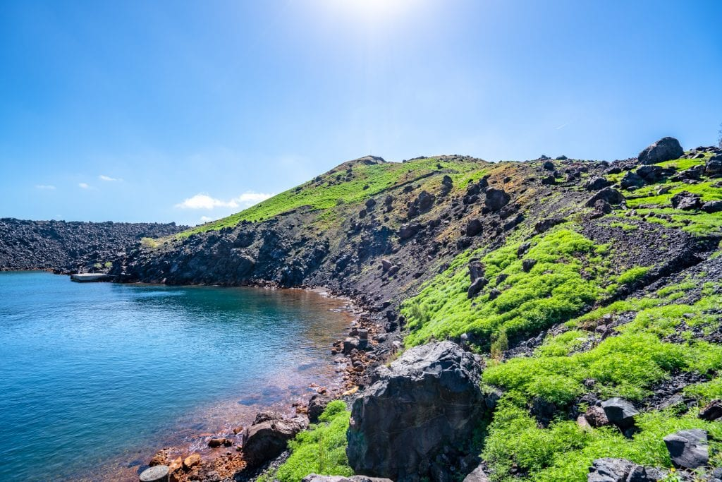 Coastline on Nea Kameni near Santorini, 3 days in Santorini Greece Itinerary