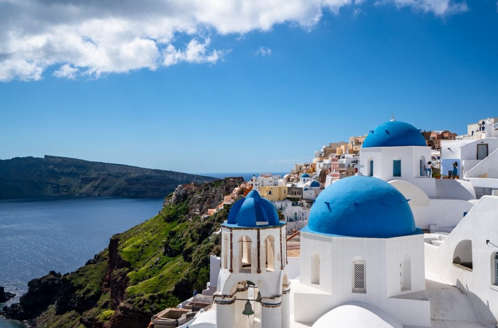 oia santorini as seen from above--travel budgeting is essential for making the most of greece