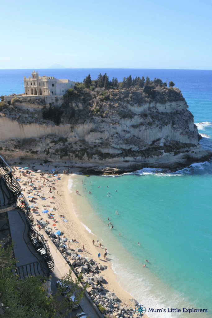 View of beach in Tropea, one of the best beach towns in Italy