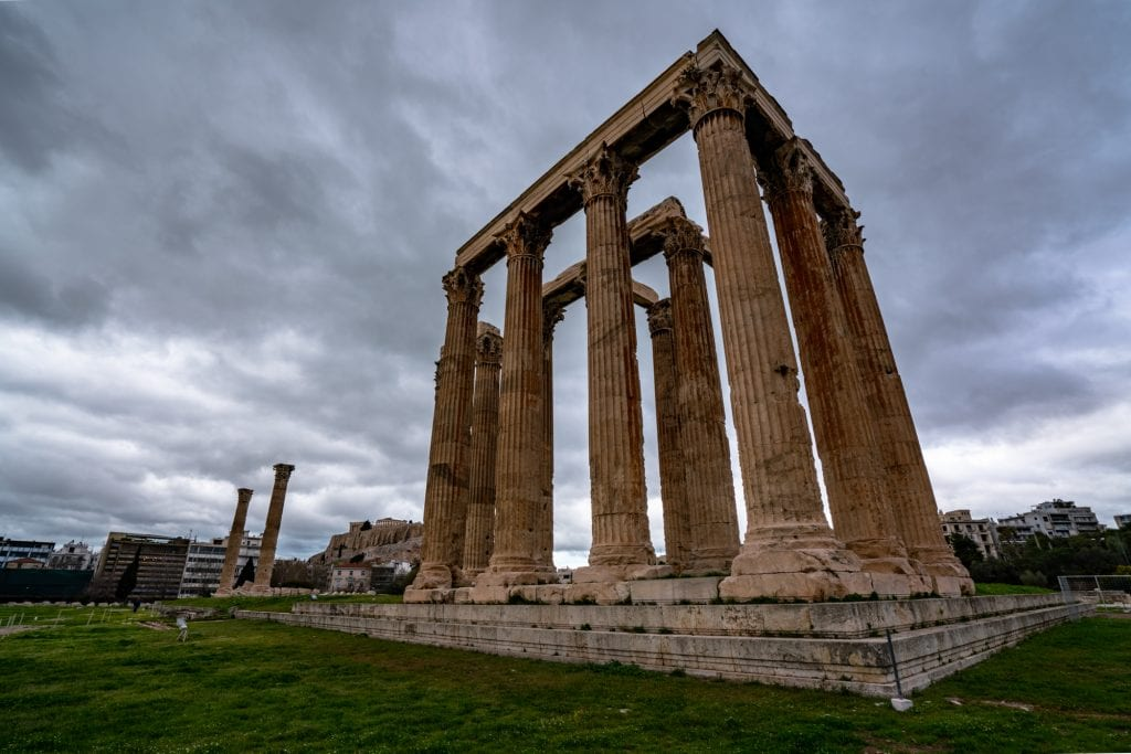 Temple of Olympic Zeus on a cloudy day, two days in Athens Itinerary