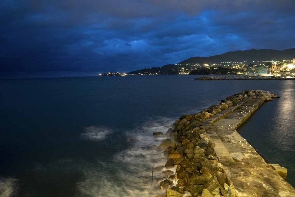 View of Rapallo, Italy at night