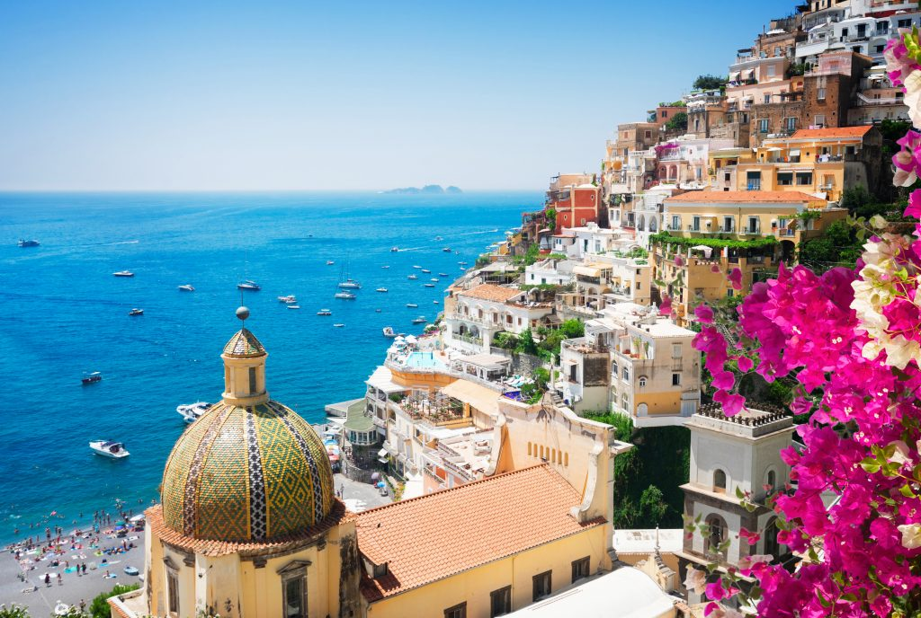 view of the amalfi coast as seen from overlooking positano on the amalfi coast, one of the best italian coastal towns