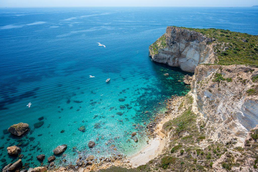 overview of a beach near cagliari sardinia