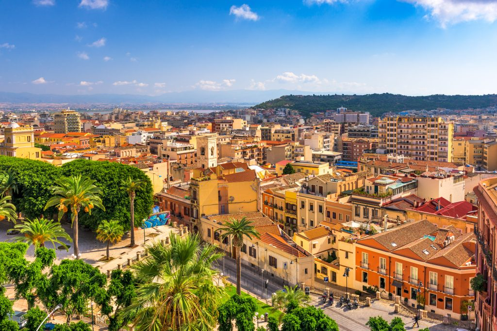 cityscape of cagliari sardinia as seen from above