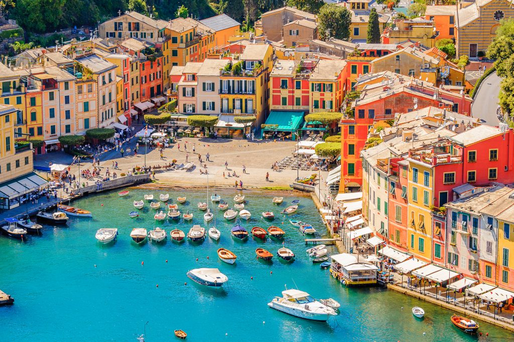 view of portofino harbor from above, one of the best italian seaside towns