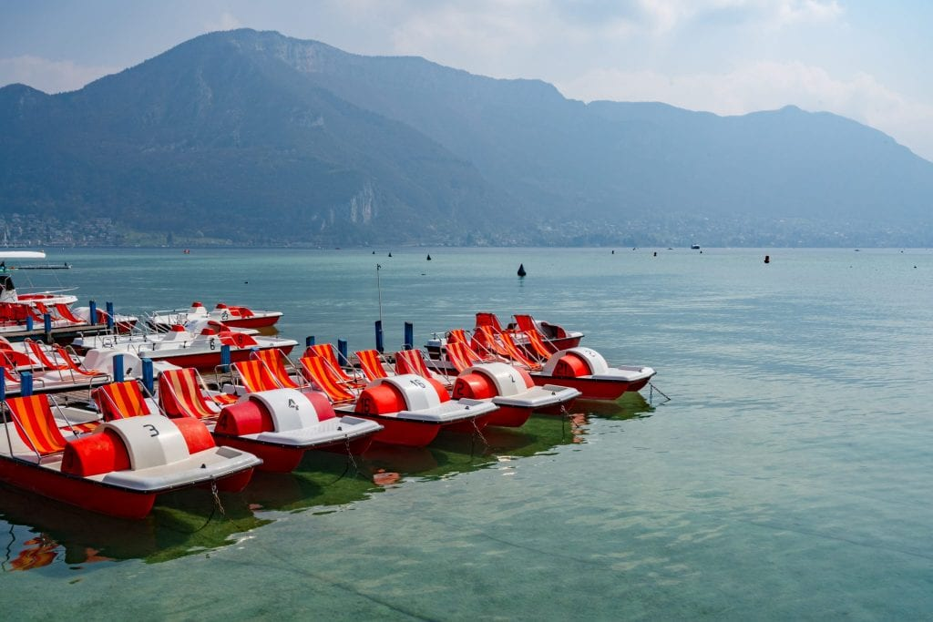 paddleboats on Lake Annecy, France