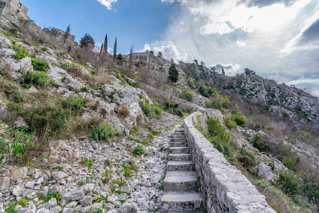 stone staircase leading up to san giovanni fortress as seen when visiting kotor montenegro