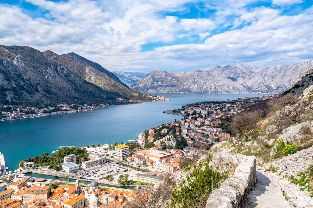 view of bay of kotor from above when climbing to san giovanni fortress