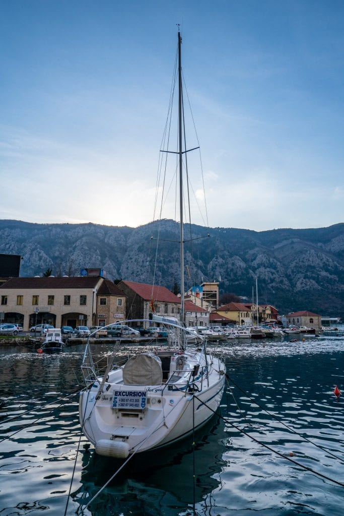 Sailboat in the Bay of Kotor, Best Things to Do in Kotor Montenegro