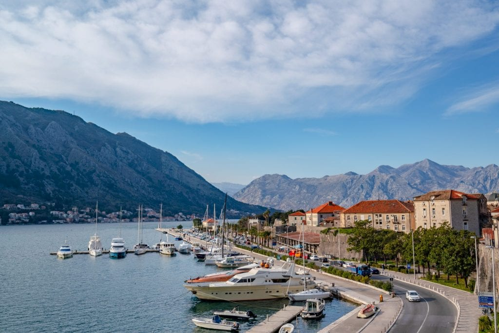 view of bay of kotor with sailboats in the water