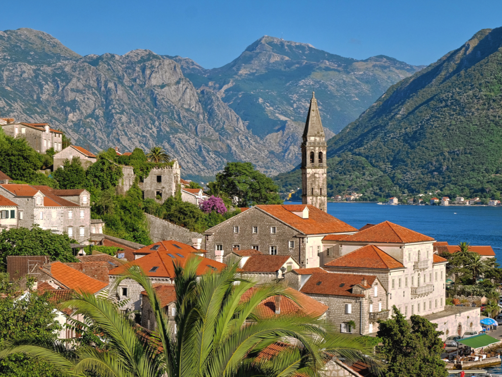 view of perast on bay of kotor with the bay in the background