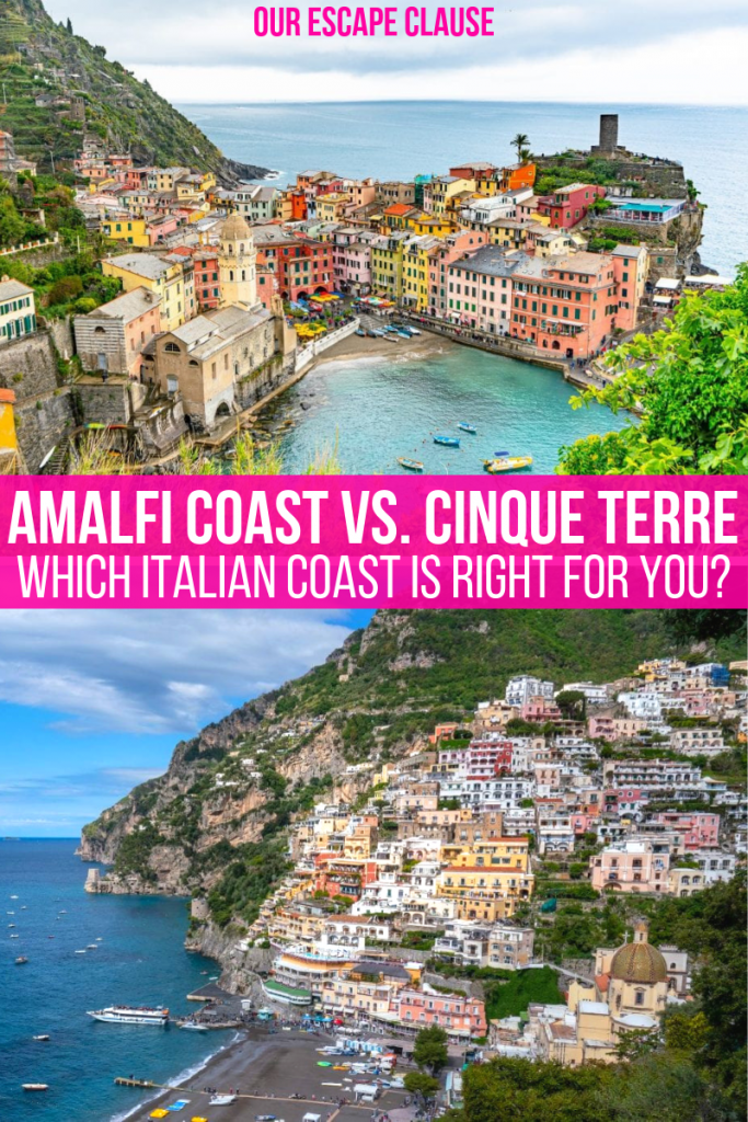 Amalfi Coast vs. Cinque Terre text on image for Pinterest. Photo of Vernazza on top and Positano below.