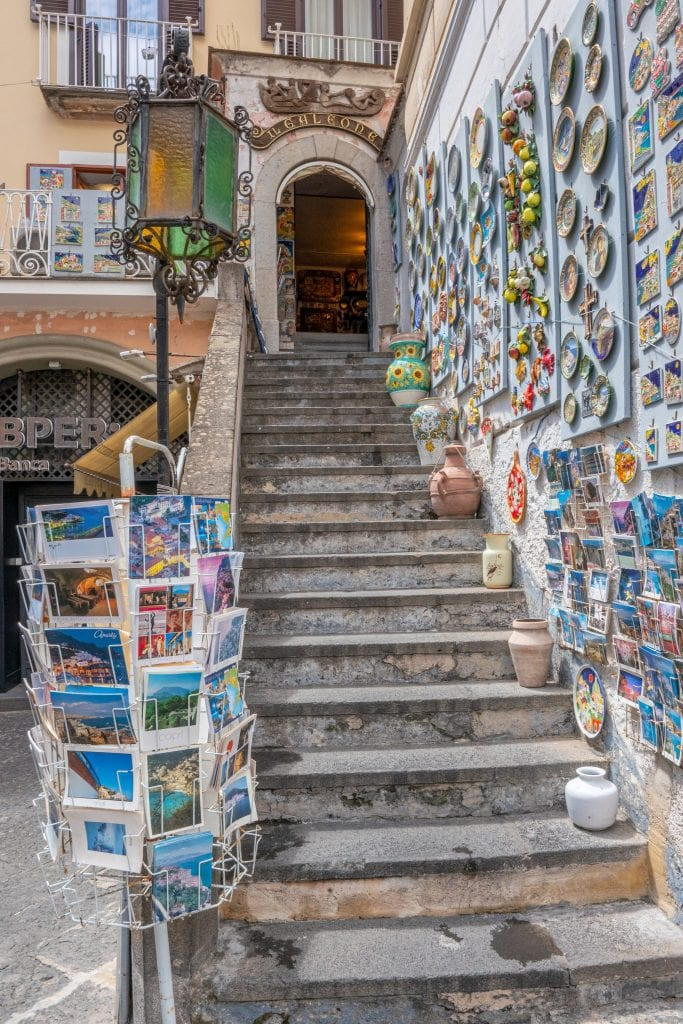 Staircase with a wall of magnets in Amalfi