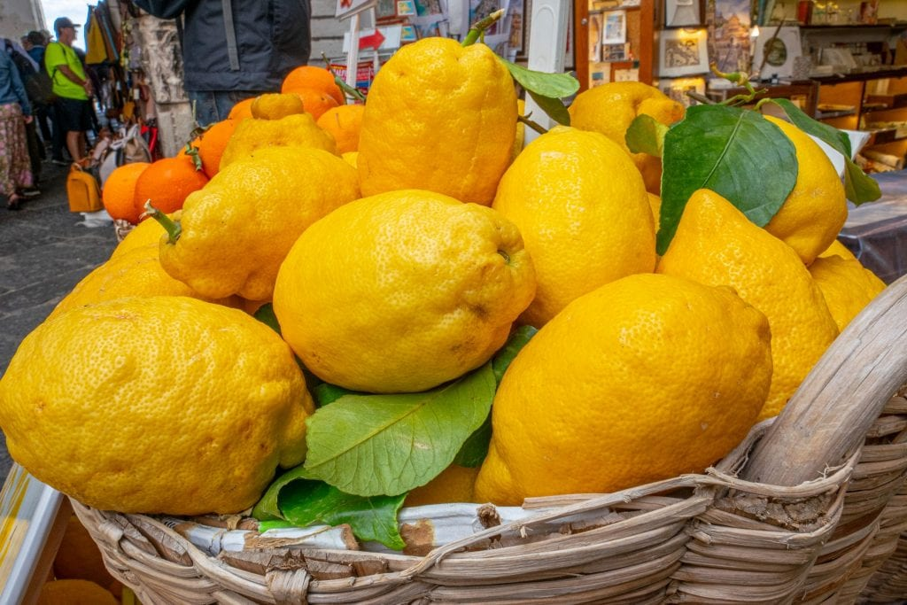 Basket of lemons for sale in Amalfi Town on the Amalfi Coast