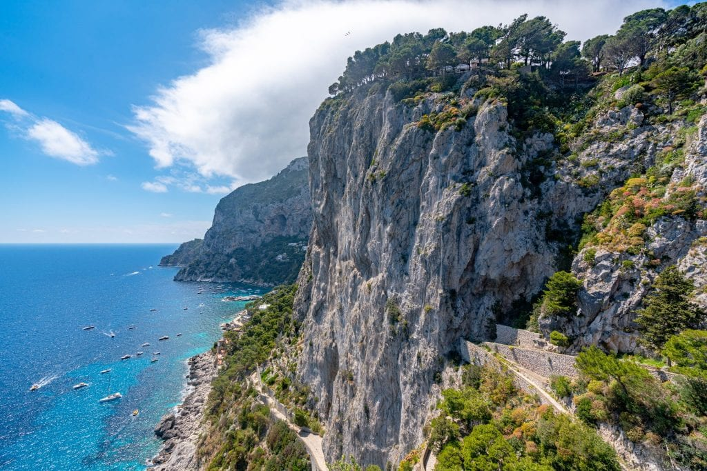 Cliffs of Capri, Italy, with sea below