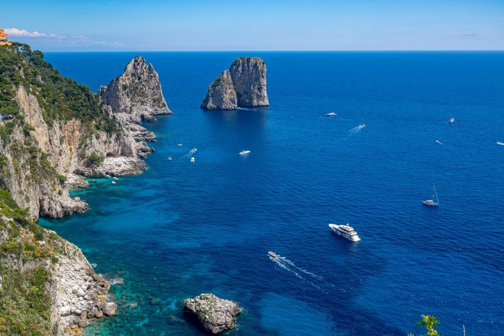 Photo of Faraglioni near Capri, as seen from the Garden of Augustus on a Capri Day Trip