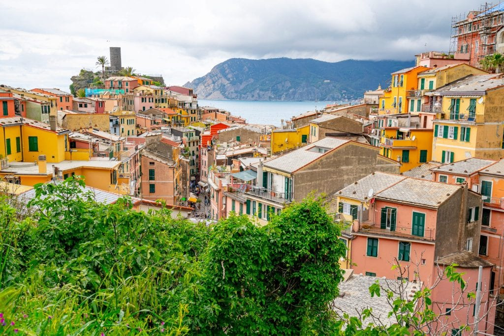 View of Vernazza from hiking trail, One Day in Cinque Terre Itinerary