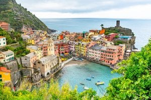 View of Vernazza Harbor from Above: One Day in Cinque Terre Itinerary